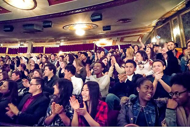 New York City students applaud Hamilton (Photo by Sara Krulwich - Courtesy of NY Times)